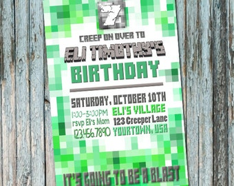 Personalized Pixel Art Birthday Invitation - Digital File - Minecraft Inspired