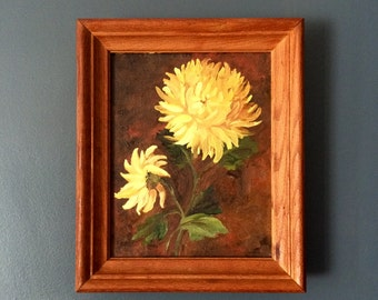 Vintage Small Oil Painting, Yellow Chrysanthemum, Mums, Flower Decor, Small Vintage Painting