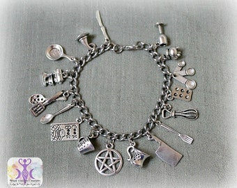 Ultimate Kitchen Witch Charm Bracelet, Baking and Cooking Witch
