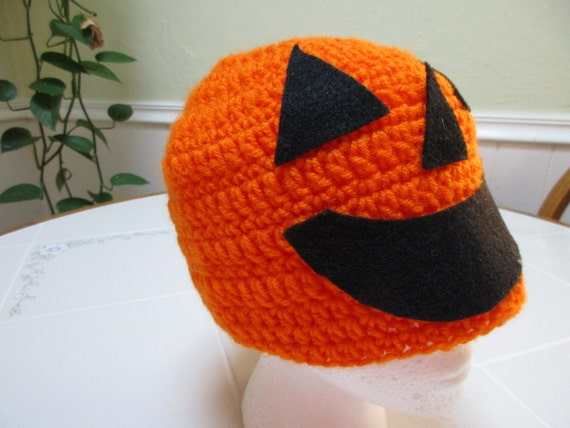 Crochet Pumpkin Hat for Adults