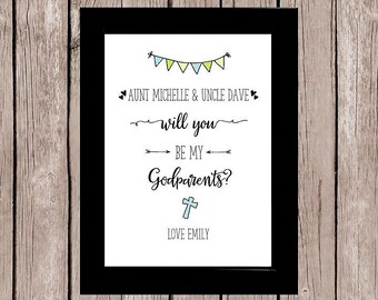 Personalised Will You Be My Godparents? Framed Gift