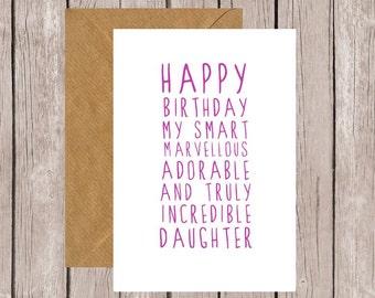 Sweet Description Happy Birthday Daughter Card
