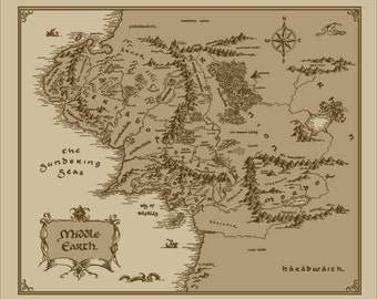 Medium Middle Earth Map cotton fabric: Lord of The Rings, The Hobbit