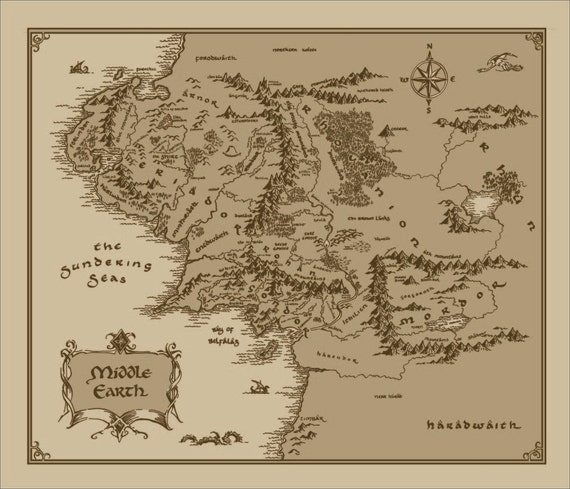 Medium Middle Earth Map cotton fabric Lord of The Rings The – Lord of the Rings Map Middle Earth