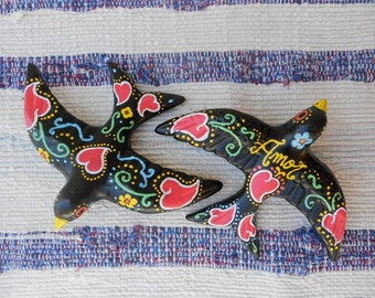 Swallow Traditional Portuguese Colorful Motif Ceramic Handpainted Wall Decor