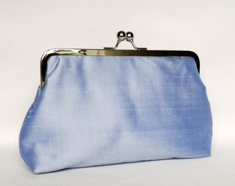 Periwinkle Blue Silk Clutch, Bridal Clutch, Wedding Clutch, Bridesmaids Set, Bridesmaids Gifts, Evening Clutch