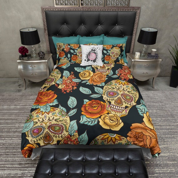 Lightweight Sugar Skull Bedding - Gold and Teal Rose Print - Sugar Skull Comforter Cover, 								<a href=