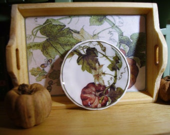 Harvest Pumpkin  Miniature Plate for Dollhouse 1:12 scale