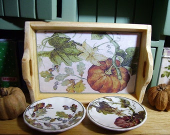 Harvest Miniature Wooden Tray for Dollhouse 1:12 Scale Collectible