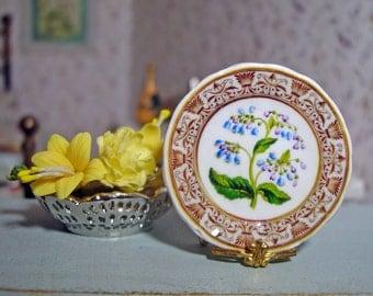 Coalport Style Botanical Blue Miniature Plate for Dollhouse 1:12 scale