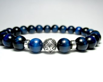 Mens Blue Tiger Eye Bracelet, Beaded Bracelet, Gemstone Bracelet, Tiger Eye Bracelet, Stretch Bracelet, Mala Bracelet