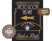 Photo Booth Sign Left Right Arrow Printables Gatsby Era Roaring 20s Prohibition Party Decor Wedding Flapper Headpiece Art Grab A Prop