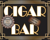 Cigar Bar Sign Roaring 20s Prohibition Era Art Deco Gatsby Inspired Gold Black White Wedding Centerpiece Party Bar Front Door Sign