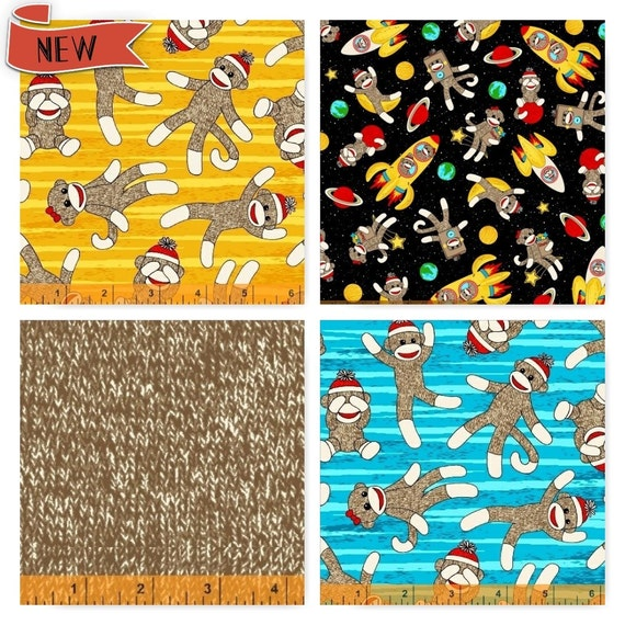Sock monkey in space windham cotton fabric by the yard 4 for Space fabric by the yard