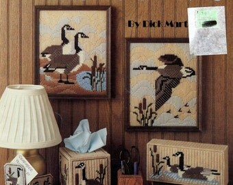 PLASTIC CANVAS Canada Geese Patterns - Tissue Cover, Pictures, Coasters, Door Stop + more - Original Hard Copy Kenyon Books Not a Pdf