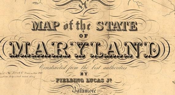 Map of Maryland Old Maryland Map, Maryland, Vintage Map, 1841 Restoration Hardware Style Maryland Wall art Maryland Map Chesapeake Bay map