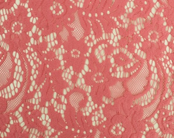 Dark Coral Embroidered Ella Pattern Nylon Lace Fabric For Dresses, Overlays, And More - Style 560
