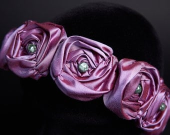 Crown Headband Light Purple Silk Roses Aphrodite Seraphinite Beads