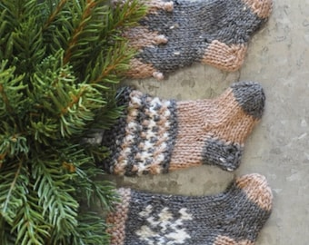 Nordic Snowflake, Mosaic Stitch & Pennant Hand-Knit Christmas Stocking Ornaments