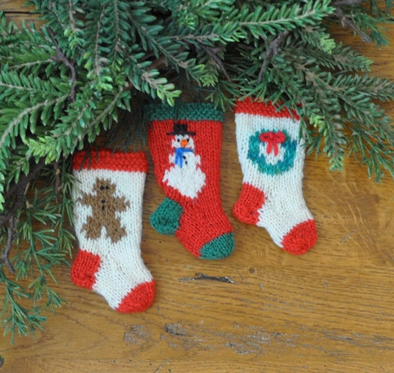 Christmas Gingerbread Man Knitting Pattern : Gingerbread Man Snowman & Wreath Hand-Knit by HandmadeMaryEllen