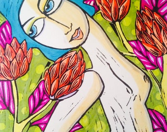 Coral tree dreaming- Hand coloured Lino Print 3/25 by Samantha Thompson