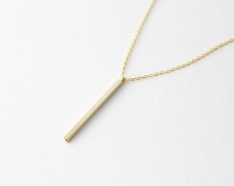 Vertical gold bar necklace - gold bar necklace