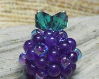 "Purple Amethyst ""Berry"" Beaded Bead Pendant Charm Fruit Grapes"