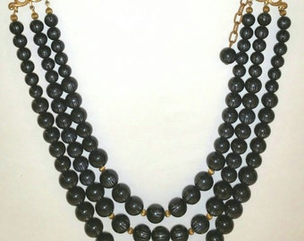 Vintage striped  black striped lucite moonglow bead necklace retro black necklace