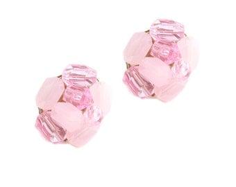 Vintage Pink Beaded Earrings Clip Ons / b16