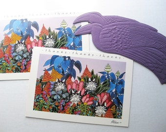 Three '80s greeting cards. Kliban cat thank you card and Laurel Burch blank card. Birds. Vintage stationery. Writing supplies. Snail mail.