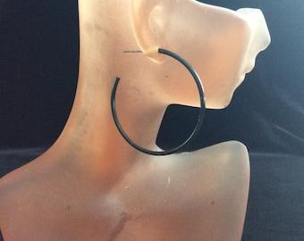 Vintage Black Enameled Hoop Earrings