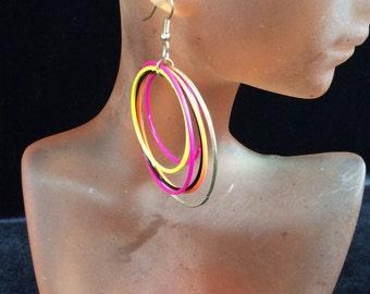 Vintage Colorful Enameled Dangle Earrings