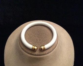 Vintage White & Goldtone Cuff Bracelet