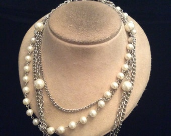 Vintage Multi Stranded Faux Pearl Necklace