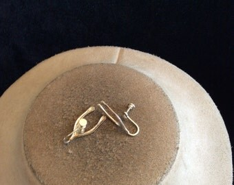Vintage Sterling Silver Wish Bone Screw Back Earrings