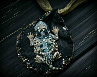 OOAK Baby Horned Toad Lizard Necklace