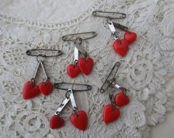 1930's heart brooch x  5