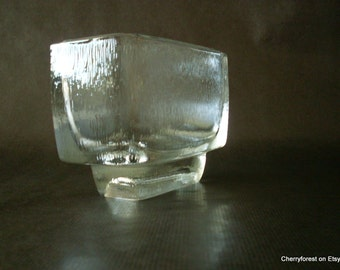 Jardiniere by Frantisek Vizner,  for Rudolfova Hut, 1960's Sklo Union Czech Modernist glass vase.