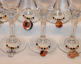 Baltimore Orioles Wine Charms Set of 6 Baseball Charms Orioles Charms