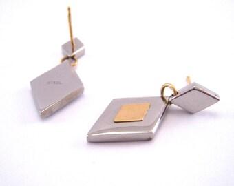 Diamonds of Steel Jewelry Earrings - Pierced Post Dangles - Gold Vermeil