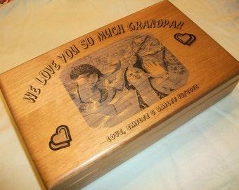 Wooden Keepsake Box - Photo Engraved Personalized Keepsake Box