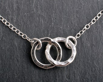 Sterling Silver Infinity Karma Friendship Double Eternity Ring Necklace Handmade