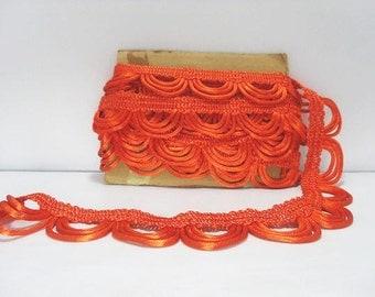 Stunning Retro Orange Trim / Vintage Satin Swag Rope Trim / Orange Satin Swag Trim