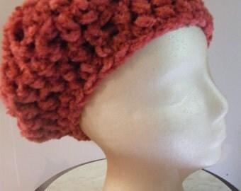 deep rose hand crochet beret from vintage yarn