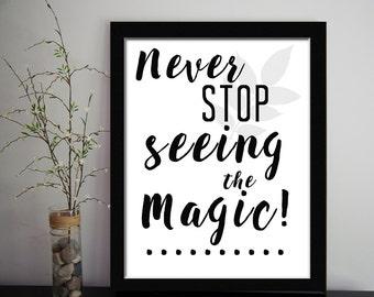 Never Stop,white quote, calligraphic art, printable wisdom, quote, printable art poster, motivational digital print, children quote