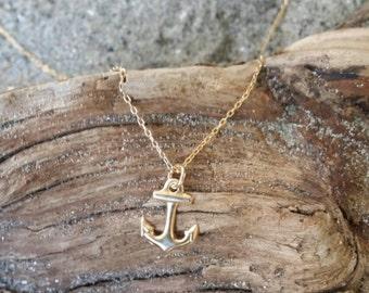 Tiny Anchor, Gold, Tiny Pendant