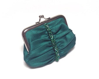 Emerald green swarovski beaded coin purse