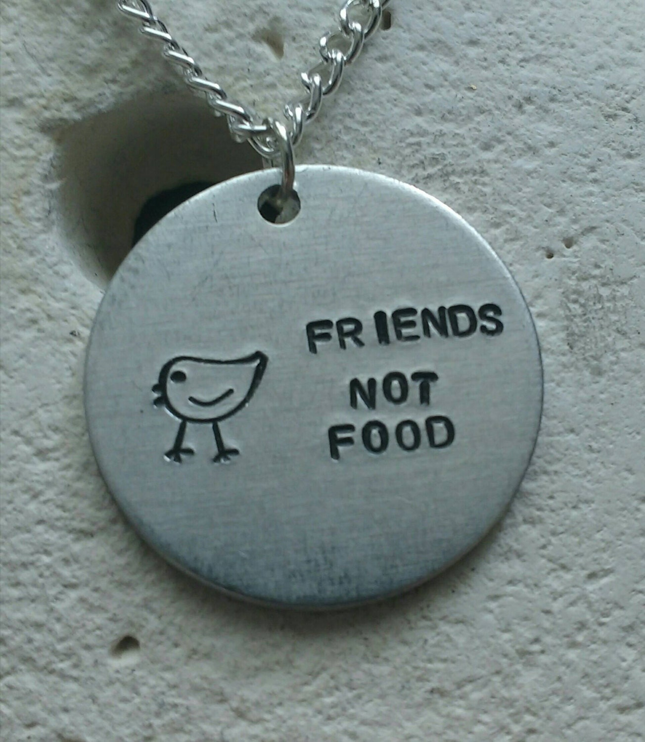 "Friends not food chicken necklace - vegan veggie jewelry - animal rights jewellery - handstamped 25mm pendant on 18"" chain"