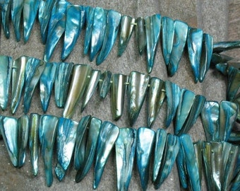 """SALE Mother of Pearl Spike Beads Dyed Blue - 14"""" Strand - Item B0411"""