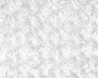 White Rosebud Minky Fabric, Sold by The Yard 6011
